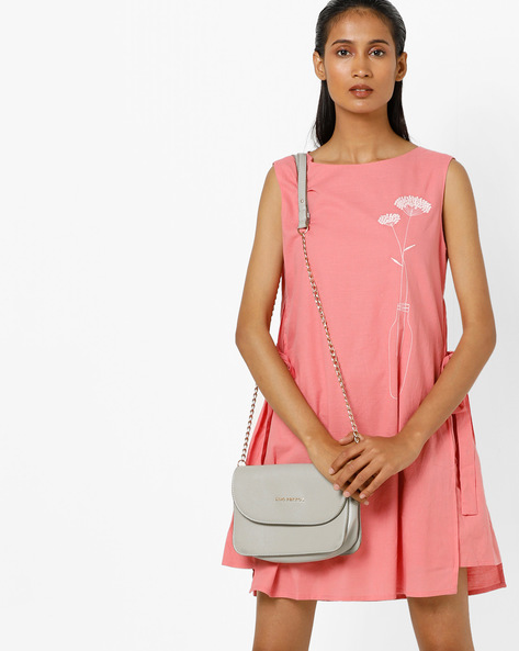 Layered Shift Dress With Tie-Ups By AJIO ( Peach )