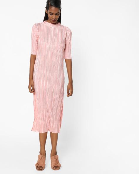 Textured High-Neck Shift Dress By AJIO ( Pink )