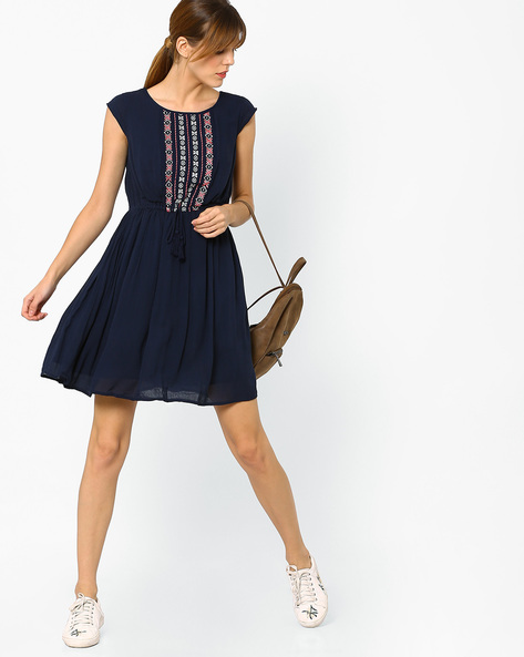 Embroidered Dress With Waist Tie-Up By AJIO ( Navyblue )