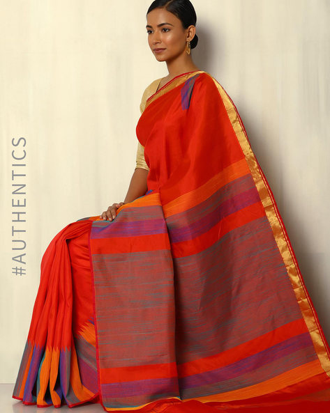 Handloom Pure Silk Saree By Pretty Woman ( Orange )