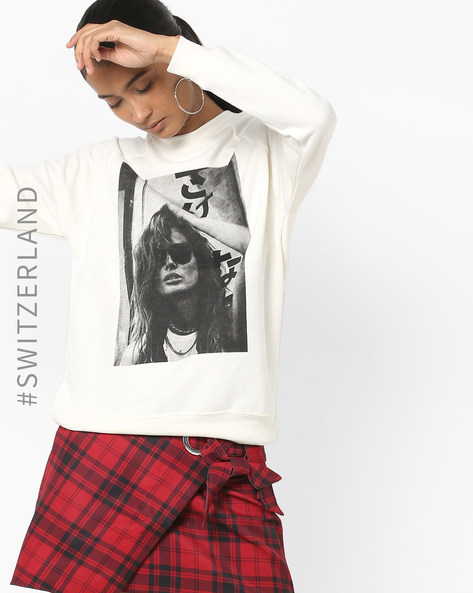 Graphic Print Sweatshirt With Raglan Sleeves By TALLY WEiJL ( White )
