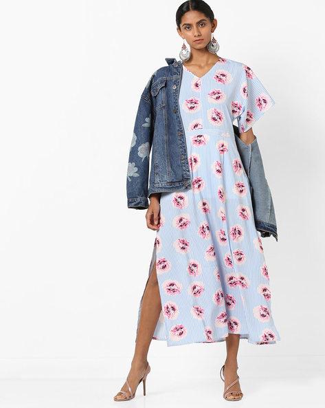 Printed Midi Dress With Slit By AJIO ( White )