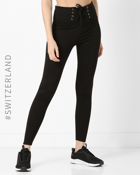 Ankle-Length Leggings With Tie-Up By TALLY WEiJL ( Black )