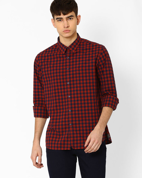 Checked Shirt With Patch Pocket By INDIAN TERRAIN ( Rust )