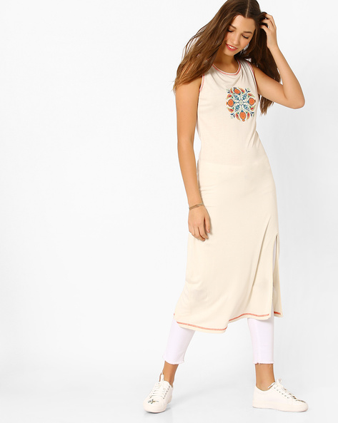 Printed Sleeveless Straight Kurta By AJIO ( Offwhite )