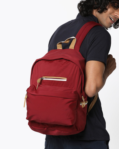 Dallas Backpack With Contrast Detail By Harp ( Burgundy )