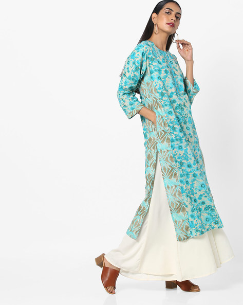 Floral Print Kurta With Mock Button Placket By Shree ( Turquoise )