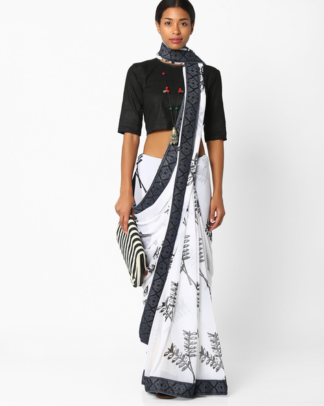 Printed Saree With Contrast Border By Amori ( White ) - 460037456001