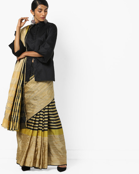 Top Dyed Saree With Stripes By Florence ( Multi )