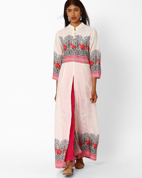 Floral Print Dress With Slit By Khimsariya ( Offwhite )