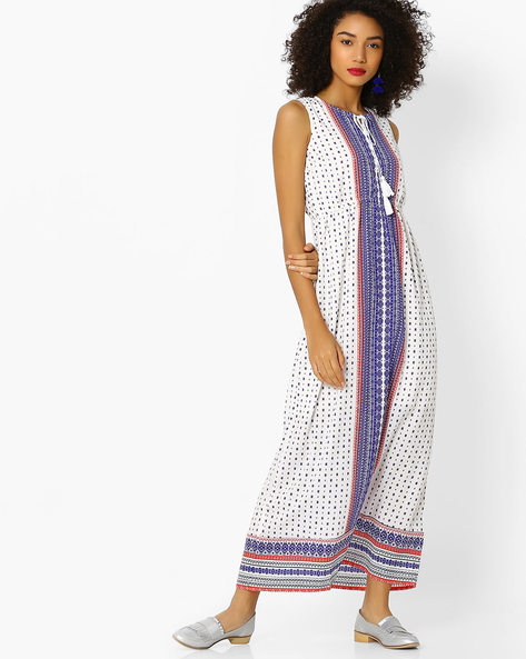 All-Over Print Maxi Dress By FUSION BEATS ( Offwhite )