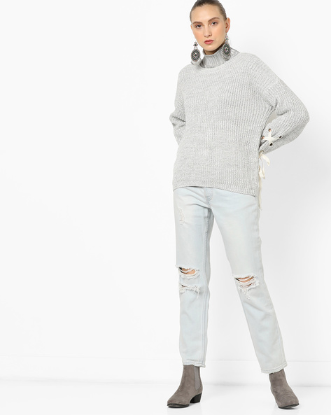 Pullover With Tie-Up Sleeves By TALLY WEiJL ( Grey )