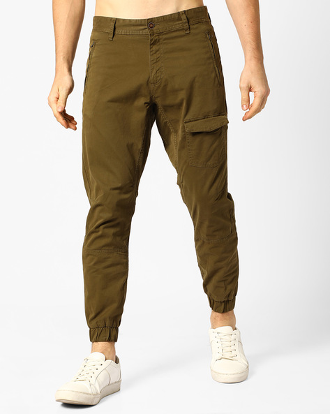 Slim Fit Twill Joggers With Zip Pockets By AJIO ( Olive )