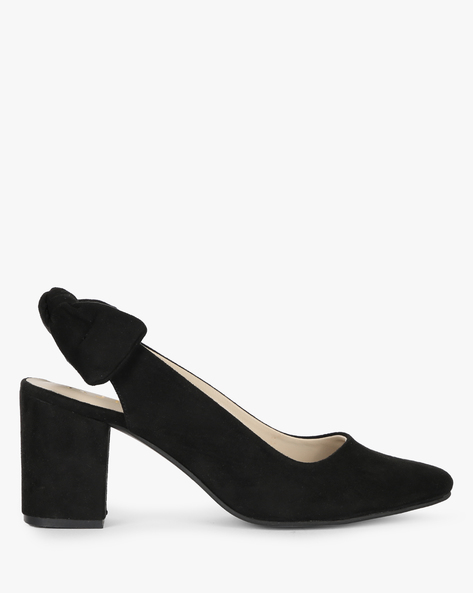 Suede Block Heels With Knotted Slingback By AJIO ( Black )