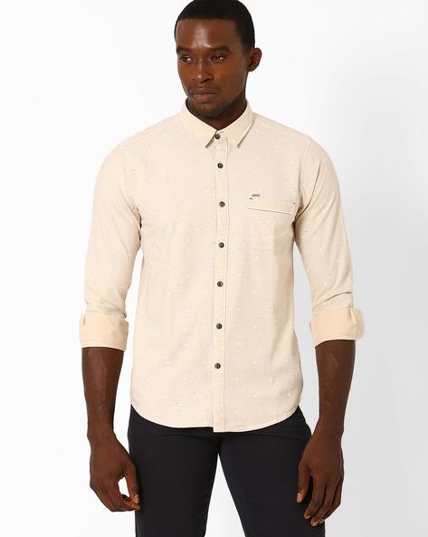Slim Fit Cotton Shirt By SIN ( Beige )