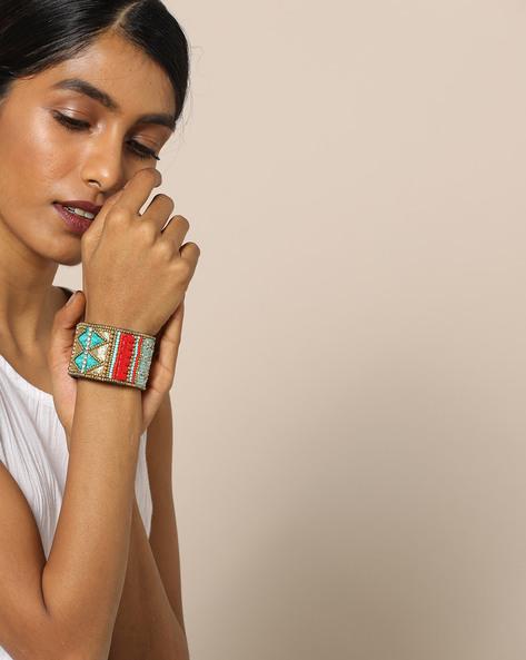 Adjustable Beaded Bracelet By Indie Picks ( Red )