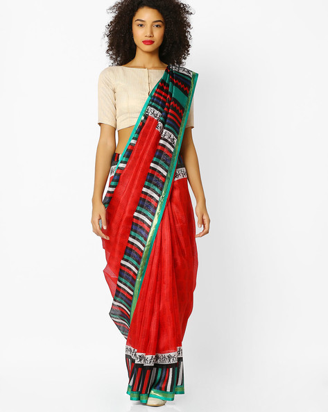 Printed Saree With Contrast Border By Florence ( Red )