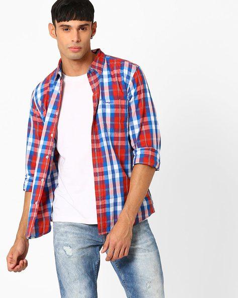 Casper Yarn-Dyed Checked Shirt By WRANGLER ( Dkred )