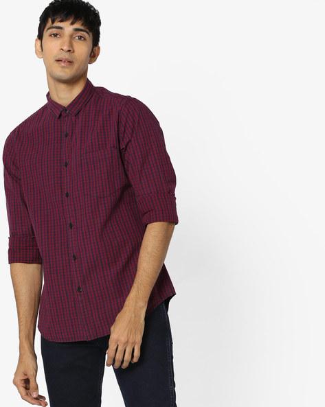 Checked Cotton Shirt By AJIO ( Blue ) - 460157442001