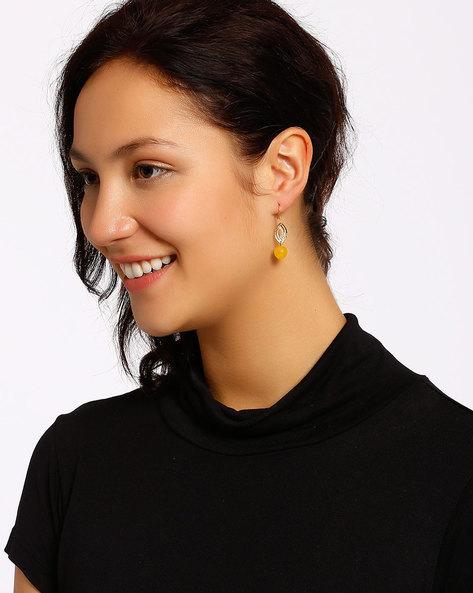 Gold-Plated Dangler Earrings By Shabnam Gitanjali ( Yellow ) - 460012309001
