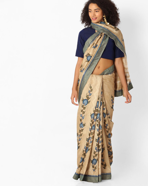 Printed Saree With Contrast Border By VIPUL ( Beige )