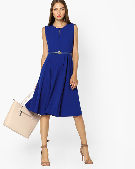 Fit & Flare Belted Dress By AJIO ( Navyblue )