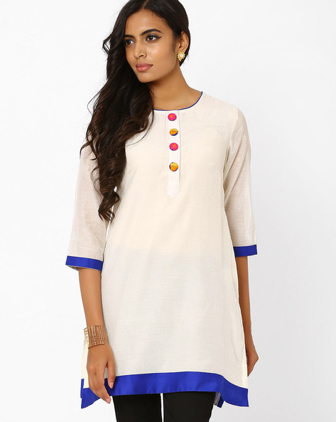 Kurta With Mock Button Placket By AJIO ( White )