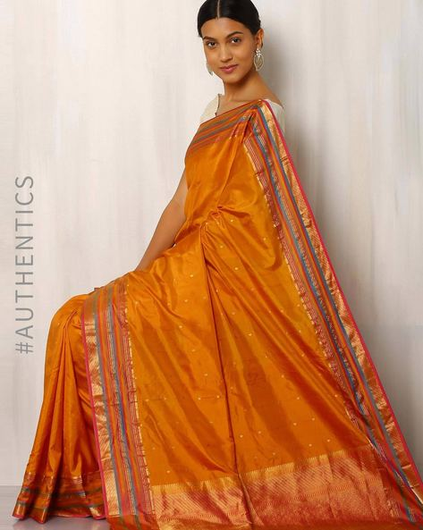 Handwoven Pure Silk Zari Border Saree By Rudrakaashe-MSU ( Multi )