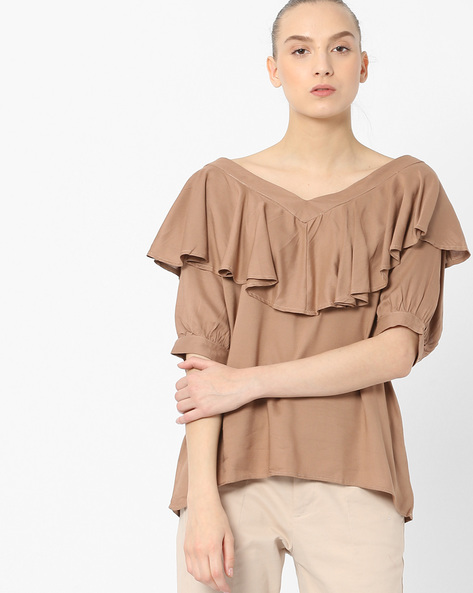 V-neck Top With Ruffled Panel By Tokyo Talkies ( Beige )