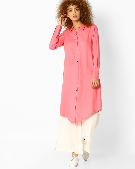 Straight Kurta With Asymmetric Hem By Melange By Lifestyle ( Pink )