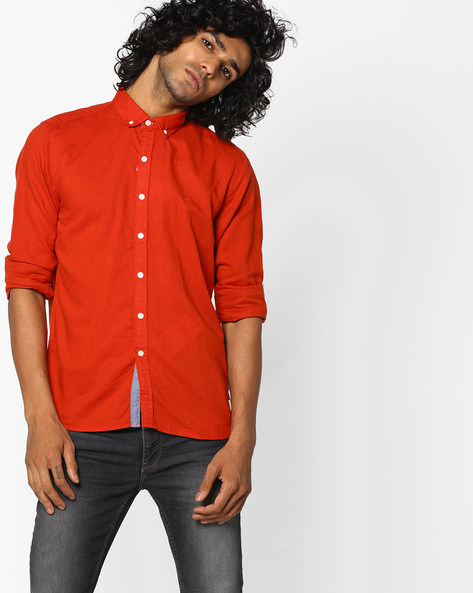 Slim Fit Shirt With Button-Down Collar By FLYING MACHINE ( Blue )
