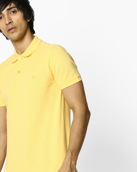 Pique Knit Cotton Polo T-shirt By UNITED COLORS OF BENETTON ( Gold )