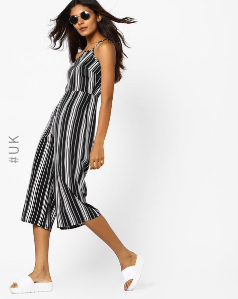 Striped Strappy Jumpsuit By INFLUENCE ( Black )