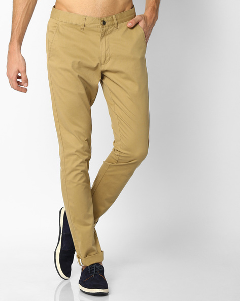 Mid-Rise Dobby Chinos By NETPLAY ( Khaki )