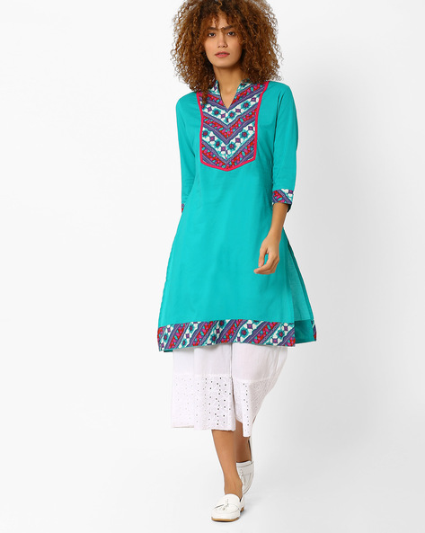 Straight Kurta With Mandarin Collar By AJIO ( Teal )