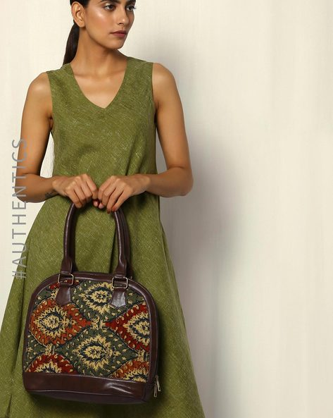Handblock Print Kalamkari Kilim Vegan Leather Shoulder Bag By A BIG INDIAN STORY ( Brown )