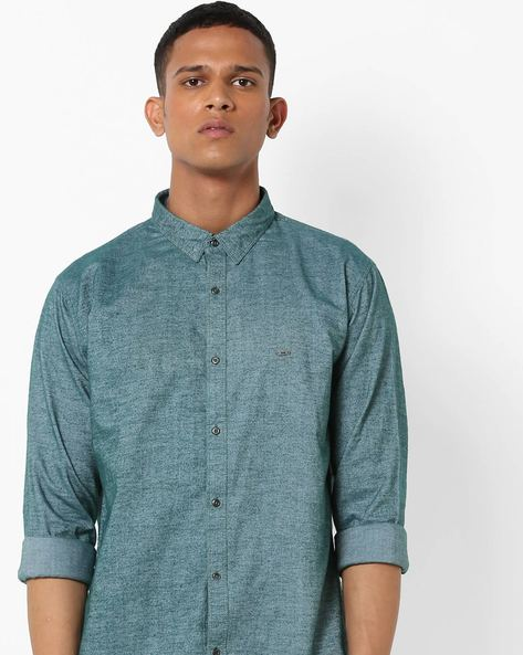 Slim Fit Shirt With Spread Collar By BASICS ( Green )