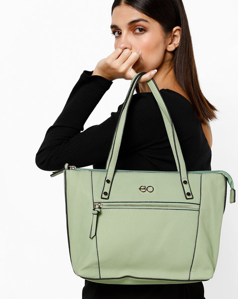 Textured Tote With Zip Closure By E2O ( Green )
