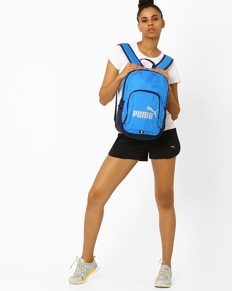 Printed Colourblock Backpack By Puma ( Blue )