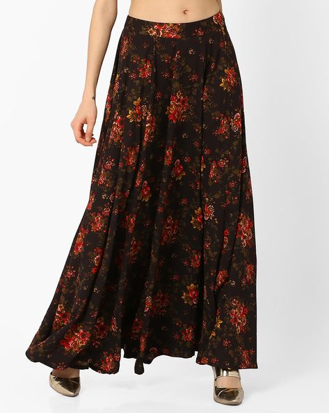 Flared Peony Floral Print Maxi Skirt By AJIO ( Black )