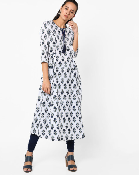Floral Print Flared Kurta With Tie-Up By AJIO ( Blue )