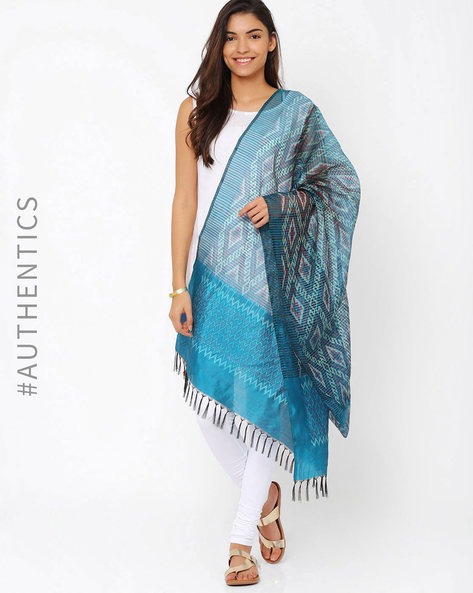Handwoven Pochampally Ikat Pure Silk Dupatta By Indie Picks ( Turquoise )