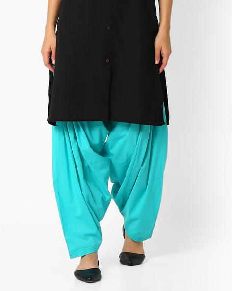 Cotton Patiala Pants By Stylenmart ( Seagreen )
