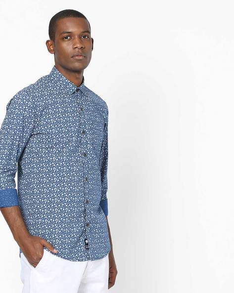 All-Over Floral Print Shirt By NETPLAY ( Navy )