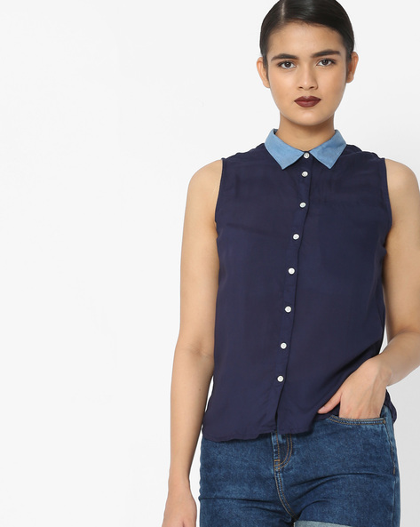 Sleeveless Shirt With Contrast Collar By Lee ( Blue )
