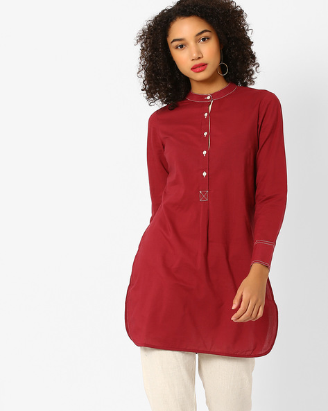 Cambric Tunic With Mandarin Collar By AJIO ( Maroon )