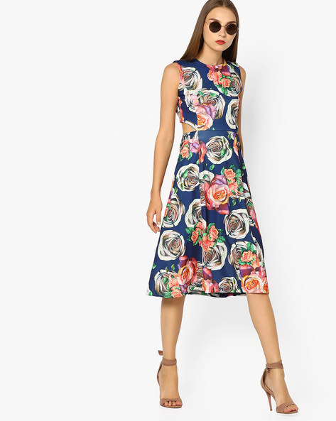 Floral Print Dress With Cut-Out By AJIO ( Navyblue )