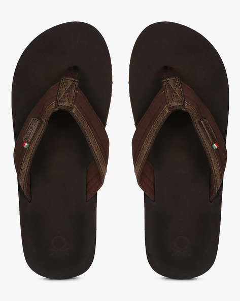 Flip-Flops With Micro Suede Upper By UNITED COLORS OF BENETTON ( Brown )