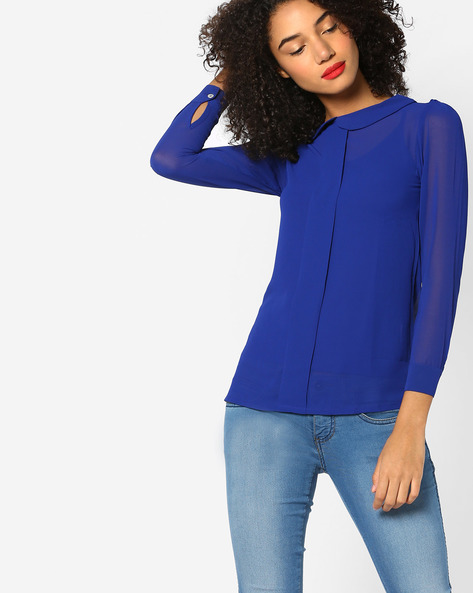 Translucent Top With Full Sleeves By And ( Blue )