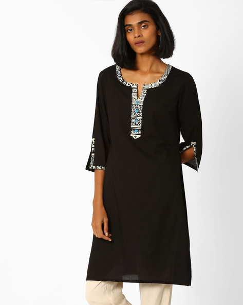 Straight Kurta With Contrast Taping By AJIO ( Black )